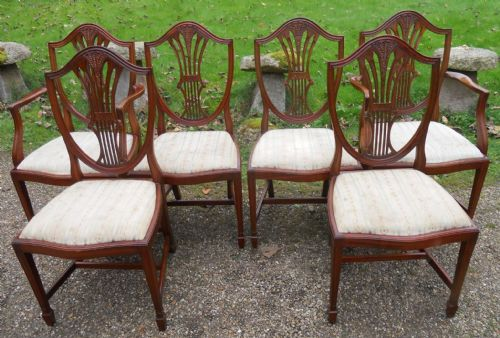 Set of Six Antique Style Mahogany Shield Back Dining Chairs by Shaw of London